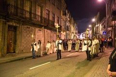 Procession i heder av vår dam av Fatima Arkivfoton
