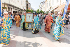 Procession with the icon of the Virgin It is worthy to eat in the center of Pomorie, Bulgaria Royalty Free Stock Photos