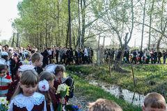 The procession and laying of flowers by schoolchildren to the memorial of fallen soldiers on may 9 in the Kaluga region of Russia. In Russia, one of the most Stock Image