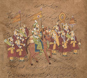 Procession of maharajah. On horse, Indian miniature painting on 19th century paper. Udaipur, India Stock Images