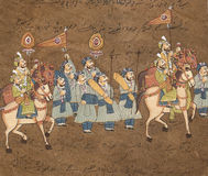 Procession of maharajah. On horse, Indian miniature painting on 19th century paper. Udaipur, India Royalty Free Stock Images