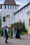 A procession in memory of Saint Paphnutius in the Borovsk monastery (Kaluga region, Russia) on may 14, 2015. Stock Photos