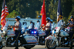 Procession of motorcycles beginning ceremony. Picture of a line of Policemen on motorcycles at the Gulf Coast Police Motorcycle Skills Championship, held on Stock Photo