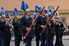Procession of musicians at Easter in Corfu Royalty Free Stock Image
