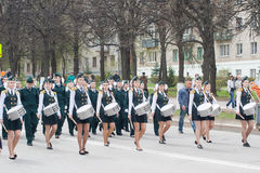 The procession, parade May 1, 2016 in the city of Cheboksary, Chuvash Republic, Russia. Teens in uniform with musical instruments. Royalty Free Stock Photos