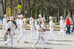 The procession, parade May 1, 2016 in the city of Cheboksary, Chuvash Republic, Russia. Teens in uniform with musical instruments. Royalty Free Stock Image