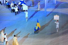 Procession of a Paraolympic team of Ukraine at opening of winter Royalty Free Stock Photos