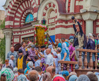 Procession for peace. Annunciation Cathedral. Ukraine. Kharkiv. July 10, 2016. Procession for peace. Pilgrims gathered around a miraculous icon. Ukraine. Kharkiv Stock Image