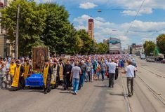 Procession for peace. Ukraine. Kharkiv. July 10, 2016. Procession for peace. Icon of the Mother of God - the main shrine and the patroness of the city of Kharkov Stock Images