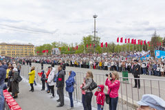 Procession of the people in Immortal Regiment on annual Victory Stock Image