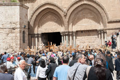 The procession of pilgrims in Jerusalem Royalty Free Stock Photos
