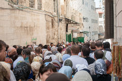 The procession of pilgrims in Jerusalem Stock Photos