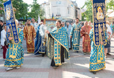 Procession in Pomorie with the Orthodox Icon of Our Lady. Worthy Is, Bulgaria Stock Photo