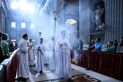 Procession of priests at St. Peter's Basilica, Rome. Stock Photos