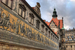 Procession of Princes, Dresden. The Fürstenzug (Procession of Princes) in Dresden, Germany, is a large mural of a mounted procession of the rulers of Saxony Royalty Free Stock Images