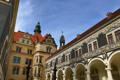 Procession of Princes Furstenzug, Old Buildings in Center of City Dresden, Germany Royalty Free Stock Image
