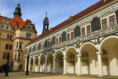 Procession of Princes Furstenzug, Old Buildings in Center of City Dresden, Germany Stock Photos