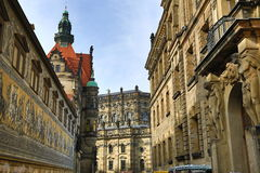 Procession of Princes Furstenzug, Old Buildings in Center of City Dresden, Germany Stock Photography