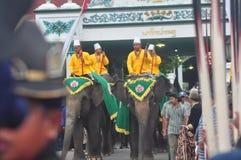 The celebration procession sekaten yogya 2017. The procession of sacred celebration in the northern square of Yogyakarta to Gedhe Kauman Mosque Yogyakarta Stock Photography