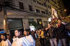 Procession. Sao Paulo, Brazil, July 20, 2014. Procession of the traditional feast dedicated to Our Lady of Carmo, at night in the Bela Vista neighborhood of Sao Royalty Free Stock Images
