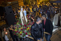 Procession. Sao Paulo, Brazil, July 20, 2014. Procession of the traditional feast dedicated to Our Lady of Carmo, at night in the Bela Vista neighborhood of Sao Stock Photography