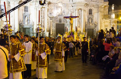 Procession during Semana Santa in Murcia Stock Images