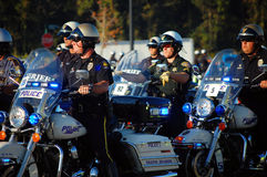 Procession of State Policemen on motorcycles. Picture of a procession of Policemen on motorcycles at the Gulf Coast Police Motorcycle Skills Championship, held Royalty Free Stock Image