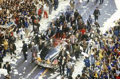 Procession During Ticker Tape Parade, New York City, New York Royalty Free Stock Photography