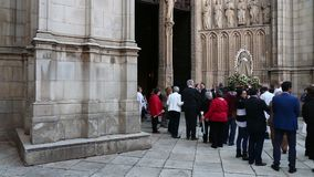 Procession to the roman catholic Toledo Cathedral, Spain stock video