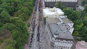 The procession of the Ukrainian Orthodox Church of the Moscow Patriarchate. stock footage