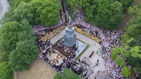 The procession of the Ukrainian Orthodox Church of the Moscow Patriarchate. stock video