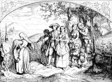 Processione alla chiesa, vecchia stampa di battesimo fotografia stock