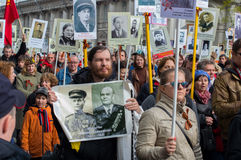 Processione del reggimento immortale a St Petersburg Russia-mA Immagini Stock Libere da Diritti