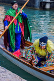 Processione di carnevale di apertura a Venezia, Italia 6 Fotografie Stock Libere da Diritti