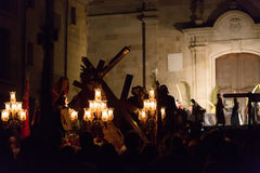 Processione di sera durante la settimana santa a Badalona Fotografie Stock Libere da Diritti