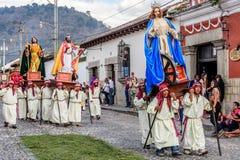 Processione la prima domenica Lent, Antigua, Guatemala fotografie stock