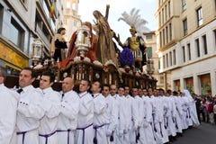 Processione religiosa in settimana santa. La Spagna Fotografia Stock