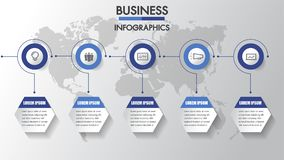 Processo aziendale Infographics di cronologia con 3 opzioni, cerchi Modello di vettore Un infographics di tre punti un una strate illustrazione vettoriale
