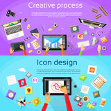 Processo criativo Digital Logo Icon Designer Foto de Stock Royalty Free