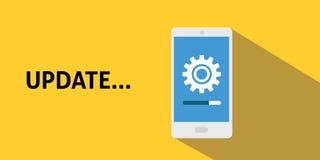 Processo da atualização de Smartphone com a barra do progresso e de carga da caixa de engrenagens com sombra longa lisa Fotografia de Stock
