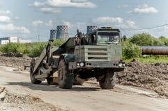 Processo da construção de estradas foto de stock