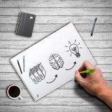 Processo da criação da ideia do desenho da mão Fotos de Stock