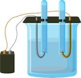 Processo da eletrólise da água Fotografia de Stock