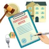 Processo da execução duma hipoteca, obrigação devida do banco da venda de casa ilustração stock
