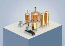 Processo da fabricação de cerveja de cerveja, produção, produção da cervejaria Imagens de Stock Royalty Free