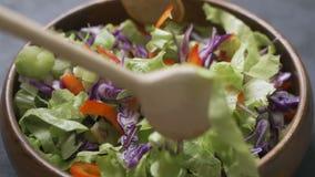 Processo da preparação da salada Processo de misturar a salada fresca vídeos de arquivo