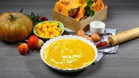 Processo de cozimento tradicional do tarte de abóbora: apronte para a massa de cozimento com enchimento e um grupo de ingrediente fotografia de stock