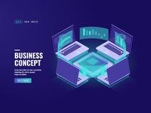 Processo de dados, ícone do visualização dos dados, datacenter e sala grandes do servidor, conexão de Internet, informação Foto de Stock Royalty Free