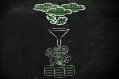 Processo de dados e armazenamento com computação da nuvem Imagem de Stock Royalty Free