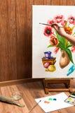 Processo de flores da aquarela do desenho Foto de Stock Royalty Free